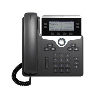 "VoIP телефон Cisco IP Phone 7821, 3.5"" (8.89 cm) 396×162pix чернобял дисплей, 2x LAN100 Base-TX, PoE, черен image"