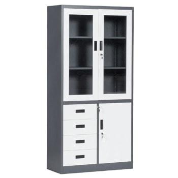 Метален шкаф Carmen CR-1278 E SAND, 3x рафтове, 2x шкафове, 4x чекмеджета, прахово боядисан, метален, заключване на вратите, регулируема височина на рафтовете, черно-бял image