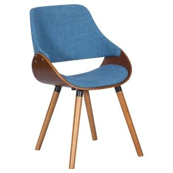 Трапезен стол Carmen 9973, до 120кг. макс. тегло, орех, дамаска/дърво, дървена база, син image