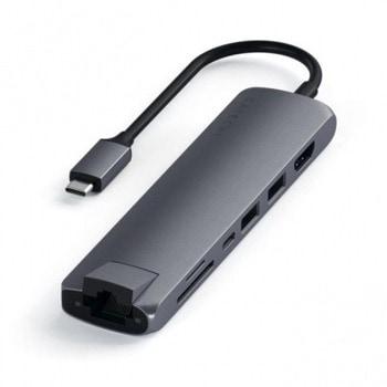 Докинг станция Satechi USB-C Aluminum Slim Multiport (ST-UCSMA3M), 1x HDMI, 1x LAN, 1x SD Card Reader, 1x Micro SD card reader, 2x USB C, 2x USB A, сива image