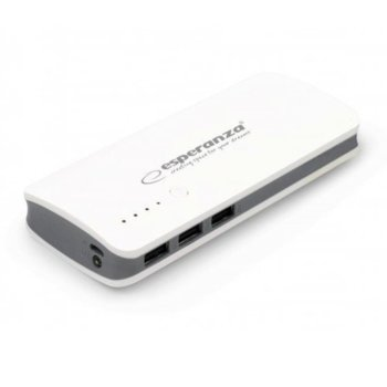 Външна батерия/power bank/ Esperanza RADIUM 8000 MAH EMP106WB, 8000 mAh, бяла image