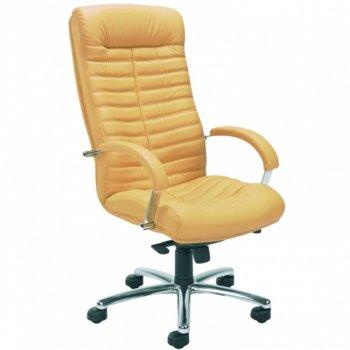 Директорски стол Orion Steel, кожа, фиксирани, метални подлакътници, алуминиева основа, газов амортисьор, люлеещ механизъм, охра image