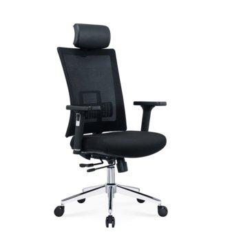 Директорски стол RFG Luxe HB Chrome, седалката е изработена от висококачествена пяна, тапицирана с текстилна дамаска, черен image