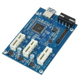 Контролер/екстендер Makki MAKKI-MINING-PCIE-3X-v005, от PCI-E x1 към 3x PCI-E x1 през USB 3.0 кабел, за добив на криптовалути image
