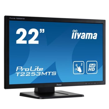 "Монитор Iiyama PROLITE T2253MTS-B1, 21.5"" (54.61 cm) TN сензорен панел, Full HD, 2ms, 12 000 000:1, 250 cd/m2, HDMI, DVI, VGA, USB image"