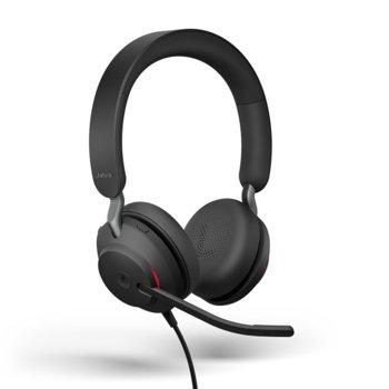 Слушалки Jabra Evolve2 40 MS Stereo, микрофон, за работа с Microsoft Teams, шумоизолиращ дизайн, светлинна индикация за заетост, USB Type-A, черни image