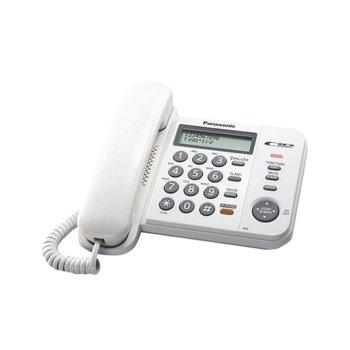 Стационарен телефон Panasonic KX-TS580FXW, LCD черно-бял дисплей, бял image