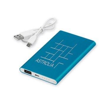 Външна батерия /power bank/ Draco, 4000 mAh, синя, 1x microUSB Type B, 1x USB Type A image