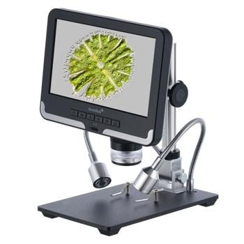 Микроскоп Levenhuk DTX RC2, увеличение до 200x, 4.3-инчов LCD дисплей, UV филтър, дистанционно управление, стойка, основа с щипки, черен image