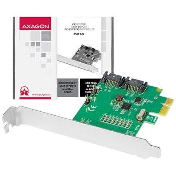 Контролер AXAGON PCES-SA2, от PCIe x1 към 2x SATA 6GB/s  image