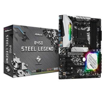 Дънна платка ASRock B450 Steel Legend, B450, AM4, DDR4, PCIe 3.0 (HDMI, DP), 4x SATA3 6.0 Gb/s, 1x Ultra M.2, 1x M.2, 6x USB 3.1 Gen1, 2 x USB 3.1 Gen2, Standard-ATX  image