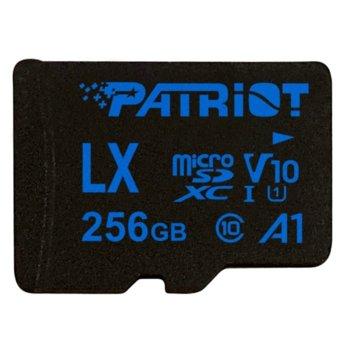 Карта памет 256GB microSDXC с адаптер, Patriot LX Series (PSF256GLX11MCX), Class 10, скорост на четене 90MB/s, скорост на запис 90MB/s image
