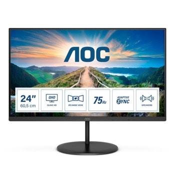 """Монитор AOC Q24V4EA, 23.8"""" (60.45 cm) IPS панел, 75Hz, QHD, 4ms, 20M:1, 250 cd/m2, DisplayPort, HDMI,  image"""