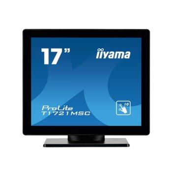 """Дисплей Iiyama T1721MSC-B1, тъч дисплей, 17"""" (43.18 cm), SXGA, DVI-D, VGA, USB image"""
