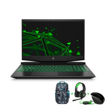 "Лаптоп HP Pavilion 15-dk0013nu (8BN12EA_5WK93AA_4BX31AA_H2W26AA) с подарък слушалки, раница и мишка HP, шестядрен Coffee Lake Intel Core i7-9750H 2.6/4.5 GHz, 15.6"" (39.62 cm) Full HD IPS 144 Hz & GTX 1060Ti 6GB, (HDMI), 16GB DDR4, 512GB SSD, FreeDOS image"