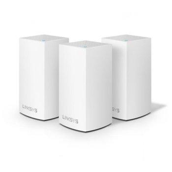 Wi-Fi система(3x бр.) Linksys Velop Intelligent Mesh WHW0103, 1300Mbps, 2.4GHz(400Mbps)/5GHz(867Mbps), Wireless AC, 1x LAN1000, 1x WAN1000, 3x вътрешни антени, 256MB Flash памет, 256MB RAM, Bluetooth 4.0 image