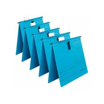 Папка картотека Herlitz, Л-образна, изработена от картон, с метални шини, синя, 5бр. image
