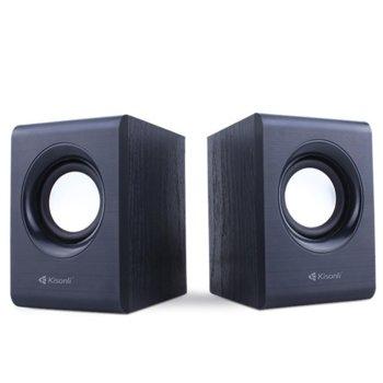 Тонколони Kisonli Т009, 2.0, 6W (2 x 3W) USB, 3.5mm jack, черни image