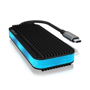 Кутия M.2 NVME (2230/2242/2260/2280) RaidSonic ICY BOX IB-1821ML-C31, за M.2 SSD, USB Type C 3.1(м), RGB подсветка, черна image