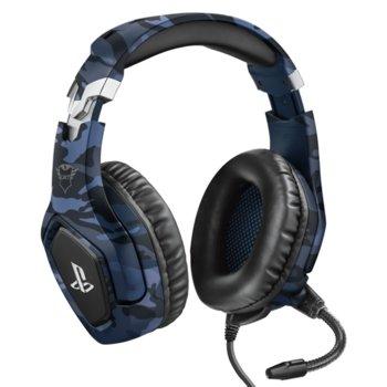 Слушалки Trust GXT - 488 Forze-B PS4, микрофон, контрол на звука, 3.5mm жак, за PS4/PC, сини image
