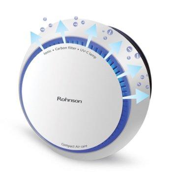 Пречиствател на въздух Rohnson R 9300, за площ до 30 m2, йонизираща функция, Hepa филтър, 4-степени на вентилатора, бял image