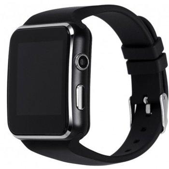 Смарт часовник X6 black, микро SIM карта 2G, слот за карта памет до 32GB, kамера - 0.6MP, Bluetooth 3.0, Android 4.1, черен image