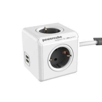 Разклонител Allocacoc Power Cube 1402GY, 4 гнезда, 2x USB, лепенка, защита от деца, бял/сив, 1.5 м кабел image