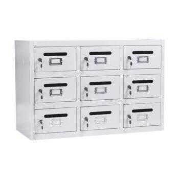 Пощенски кутии Carmen CR-1411 XZ, 9x шкафове, прахово боядисан, метален, сив image