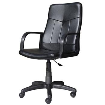 Работен стол Clerk, до 120кг, еко кожа, полиамидна база, коригиране височина, регулируем люлеещ механизъм, заключване в позиция, черен image