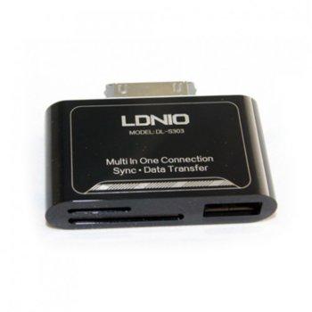 Четец за карти LDNIO DL-P303, Apple 30-pin, SD/microSD/MMC, черен image