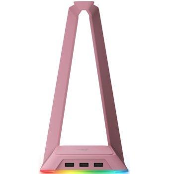 Стойка за слушалки Razer Base Station Chroma - Quartz, RGB подсветка, 3-портов USB 3.0 хъб, розова image