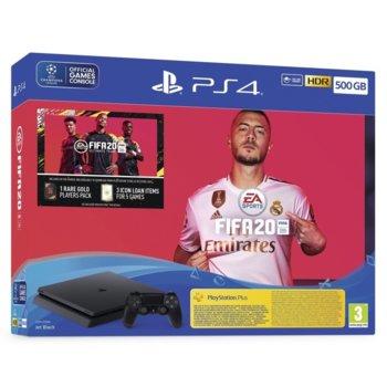 Конзола Sony PlayStation 4 Slim 500GB в комплект с FIFA 20, черна image