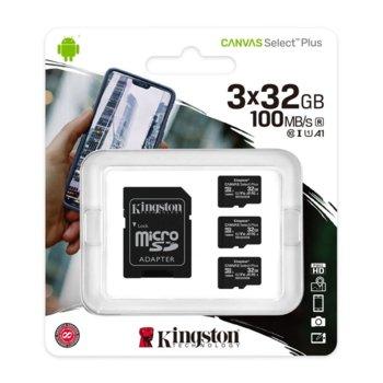 Карта памет 32GB microSDHC с адаптер, Kingston Canvas Select Plus Multi Pack, Class 10 UHS-I, скорост на четене 100MB/s, скорост на запис 10 MB/s, 3 броя image
