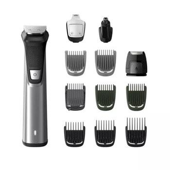 Тример за лице, коса и тяло Philips Multigroom Series 7000, 12 в 1, самонаточващи се ножчета, технология DualCut, 12 инструмента, до 120 минути време на работа, сив image