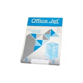 Етикети за принтери Office Jet, формат А4, размер 105х42.3mm, 14бр. на лист, опаковка от 100 листа, бели image