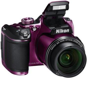 "Фотоапарат Nikon CoolPix B500(лилав) с подарък чанта Nikon Case P-08(черно), 40x оптично увеличение, 16 Mpix, 3.0"" (7.62cm) LCD дисплей, Bluetooth 4.1, Wi-Fi, HDMI(Type D), micro USB, SDXC слот image"