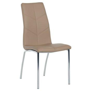 Трапезен стол Carmen 314, еко кожа, хромирани крака, бежов image