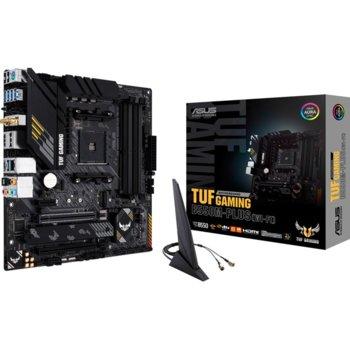 Дънна платка Asus TUF GAMING B550M-PLUS (WI-FI), AM4, B550, DDR4, PCI-E 4.0, (DisplayPort&HDMI),(CFX), 4x SATA 6Gb/s, 2x M.2, 1x USB 3.2 Gen 2 Type-C, Wi-Fi, Bluetooth, mATX image