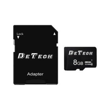 Карта памет 8GB SDHC-I, с адаптер, DeTech, Class 10 image