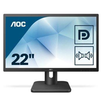 """Монитор AOC 22E1Q, 21.5"""" (54.61 cm) MVA панел, Full HD, 5ms, 20M:1, 250 cd/m2, HDMI, VGA, DisplayPort image"""