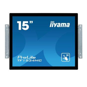 "Дисплей Iiyama TF1534MC-B6X, тъч дисплей, 15"" (38.1 cm), XGA, HDMI, VGA, DisplayPort image"