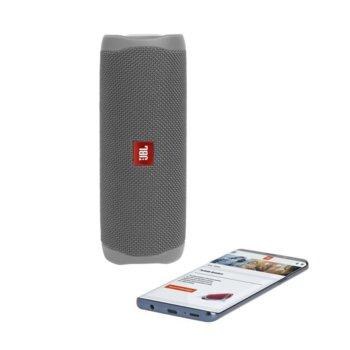 Тонколона JBL Flip 5 GRY, 1.0, 20W RMS, USB, Bluetooth, GRAY, влагоустойчива (IPX7) image