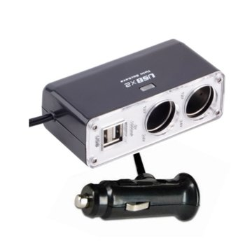 Разклонител от автомобилна запалка към 2x aвтомобилна запалка / USB A(ж), сива image