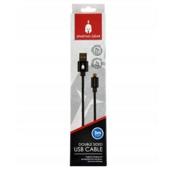 Кабел Spartan Gear (50390), от USB A(м) към USB micro B(м), 3m, черен image