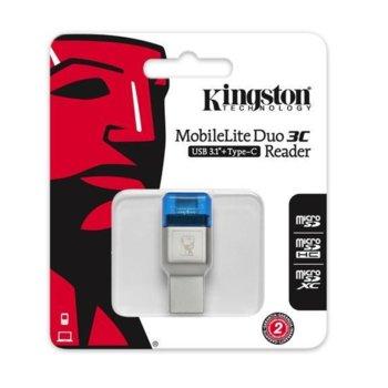 Четец за карти Kingston MobileLite Duo 3C, USB 3.1/Type-C, microSD/SDHC/SDXC, сребрист image