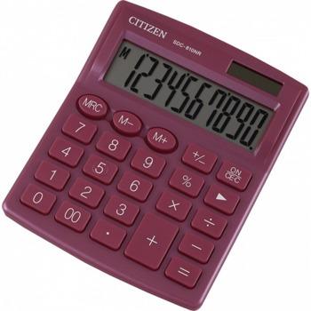 Калкулатор Citizen SDC-810PKE, 10-цифрен едноредов LCD дисплей, настолен, функция на паметта с 3 клавиша: MRC, M +, M-, автоматично изключване, червен image