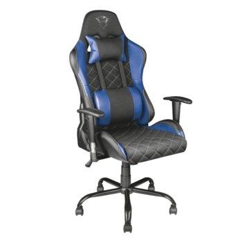 Геймърски стол Trust GXT 707B Resto Gaming Chair, кожен, 5 колелца, син image