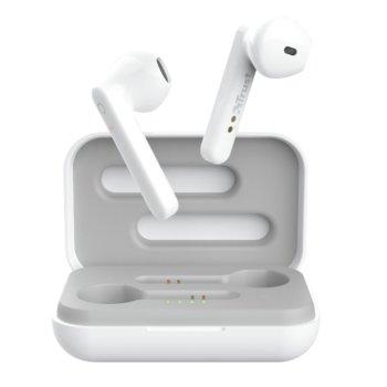 Слушалки Trust Primo Touch Bluetooth, микрофон, Bluetooth, до 4ч. издръжливост на батерията, с кутия за зареждане, бели image