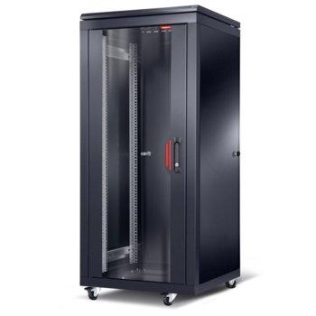 """Комуникационен шкаф Formrack CSM-32U6060, 19"""", 32U, 600 x 600 x 1292, свободностоящ, товароносимост 600кг, 4 отвора за вентилатори в горната част, стъклена врата, черен image"""