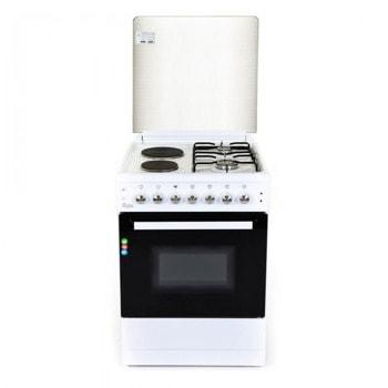 Готварска печка Zephyr ZP 1441 2E60F, клас А, 4 котлона, 6 функции, 58 литра обем на фурната, термостат, функция конвекция, чекмедже за кухненски принадлежности под фурната, бяла image